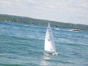 Barb Urich chasing a faster boat in race #1